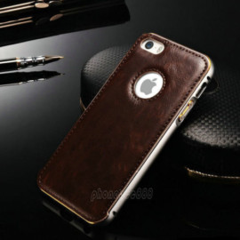 Luxury Leather Aluminum Metal Bumper Frame Case Cover for iPhone 6 /6S Plus (Brown)