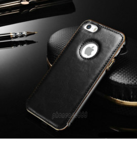 Luxury Leather Aluminum Metal Bumper Frame Case Cover for iPhone 6 /6S (Black)